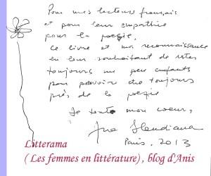 dédicace d'Ana Blandiana pour le blog